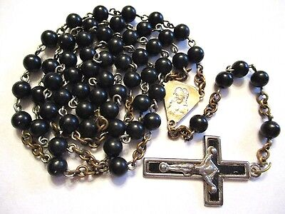 Vintage Antique French  Black Glass Rosary Jesus Mary Religious Medal Lot E-4