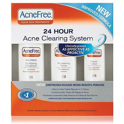 AcneFree 24 Hour Acne Clearing System 3-Step Set Proactiv Effectiv Complete Spot