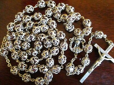 Vintage Nice Crystal Silver Double Capped Rosary Mary Religious Medal Lot #e4