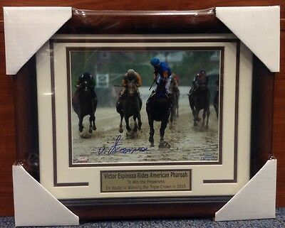 Victor Espinoza American Pharoah Preakness Auto Signed Framed 8X10 STEINER