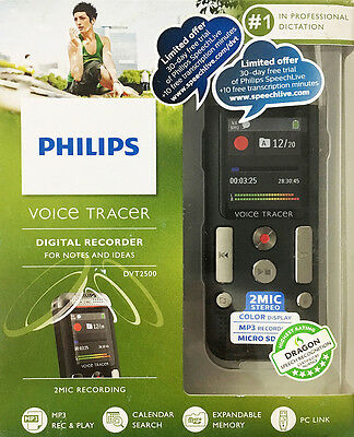 New! Philips Voice Tracer 2500 Digital Voice Recorder - DVT2500 - In Retail Box