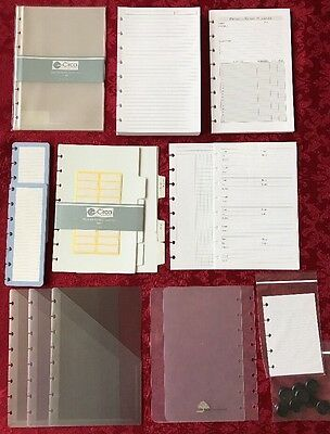 Levenger Circa Junior Lot Of Paper, Folders, Dividers, Sheet Protectors, Discs