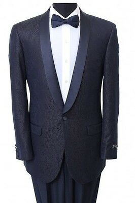 Shawl Colar Paisley Blazer Mens Tuxedo Jacket slim fit By Tazio Navy BLue