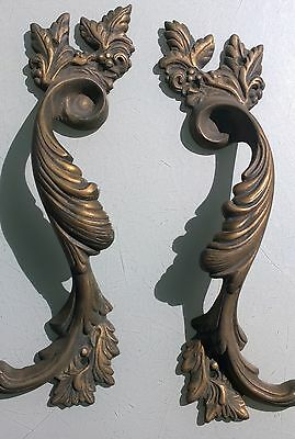 """2 Large handle DOOR PULLS solid BRASS old vintage antique style 11 """" long heavy"""