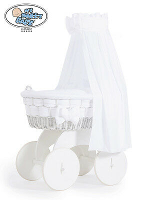 My Sweet Baby - Bianca Drape White  Wicker Crib Moses Basket - White