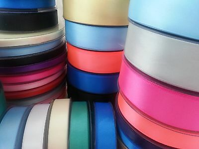 25m/50m Metres Double Sided Faced Satin Ribbon Reels 6mm 10mm 15mm or 25mm width