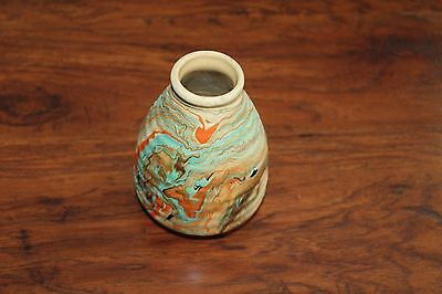 Great Highly Colorful Nemadji  INDIAN NATIVE Pottery Vase 6IN