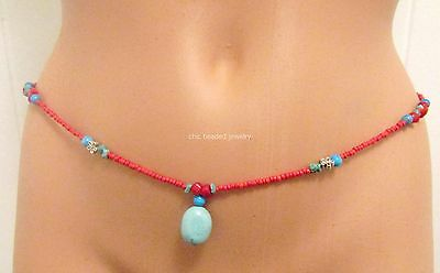 Handmade Single-Turquoise And Coral Stones- Strand African Waist beads