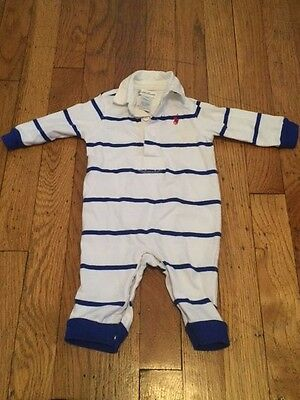 Polo Ralph Lauren Baby Boys Infant Collar Jumper One-Piece Blue White 3M Months