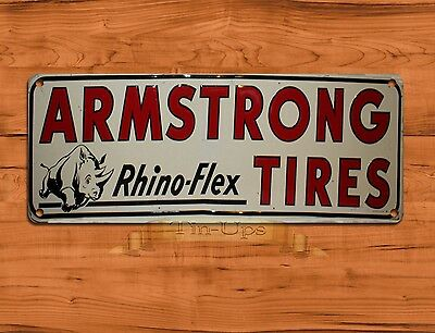"TIN SIGN ""Armstrong Tires"" Garage Advertisement Rustic Wall Decor"