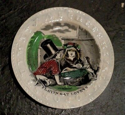 hand colored children's pottery ABC alphabet plate playing at lovers