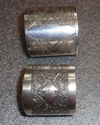 fine pair antique silver plated napkin ring