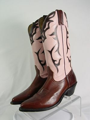 SILVER REBEL Women 8.5-C Wide Brown Pink Inlay Leather Western Horse Cowboy Boot