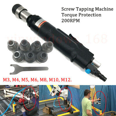 Air Pneumatic Tapping Tapper Machine 200RPM Torque Protected + 7pc Chuck M3-M12