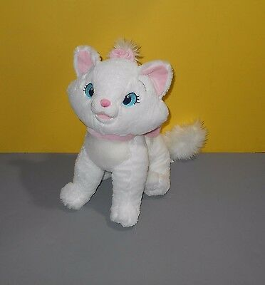 "Disney Store Aristocats Marie Embroidered Logo 14"" Bean Stuffed Plush w/Pink Bow"