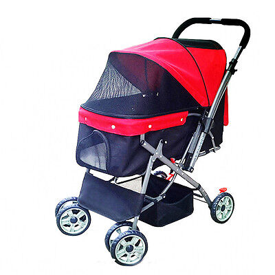 Foldable Pet Stroller, Pushchair For Dog Puppy Cat In Red Color Four Wheels