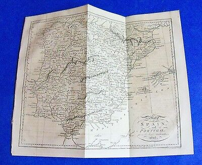 1803 antique engraved map of SPAIN and PORTUGAL, Mallorca, Madrid etc rare