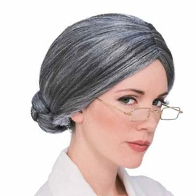 Ladies Grey Granny Wig with Bun Grandma Nanny Nanna Old Lady Fancy Dress