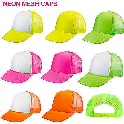 1 Dozen (12) Neon Trucker Hats ~ Wholesale Lot Flourescent Mesh Hat Snapback Cap