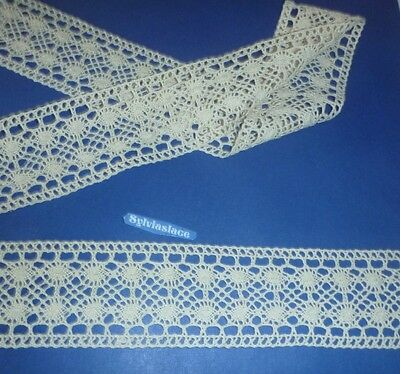 2 metres  of  Cream  Pure  Cotton  Cluny  Lace      60  mm Wide