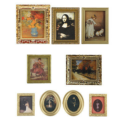 4 pcs/set Vintage Photo Painting Mural Wall Picture for 1:12 Dollhouse Miniature