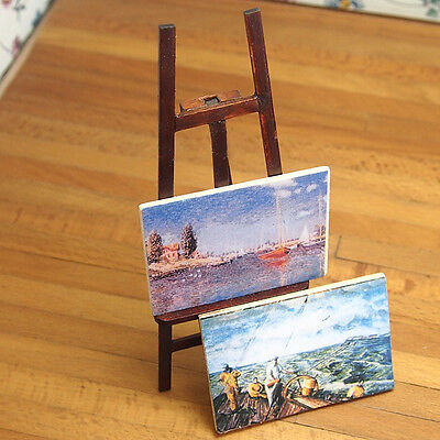 1/12 Dollhouse Miniature Wooden Easel With Two Paintings Paint Rack Frame DIY