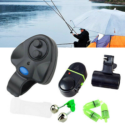Electronic LED Light Fish Bite Sound Alarm Bell Clip On Fishing Rod Black Color