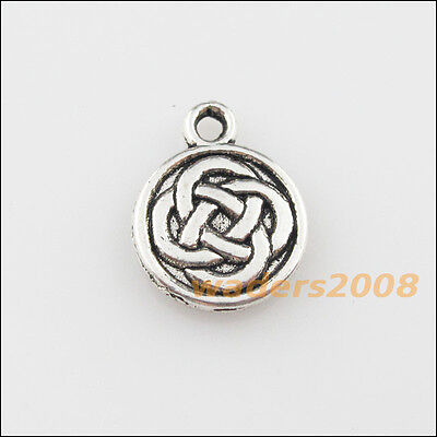 20 New Oval Chinese Knot Connector Tibetan Silver Tone Charms Pendants 14x25.5mm
