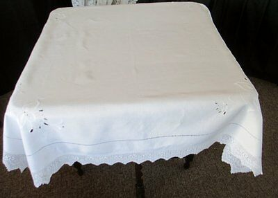 Antique Tablecloth-Irish Linen-Hand Embroidery+Crochet Edge