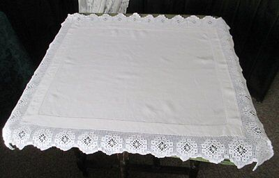 Antique Tablecloth-Irish Linen-Hand Crochet Edge