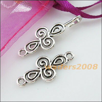 6 New Connectors Necklace Clouds Cross Toggle Clasps Tibetan Silver 12x56mm