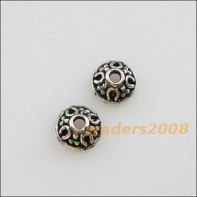 70 New Charms Tibetan Silver Tone Tiny Flower End Bead Caps 6mm