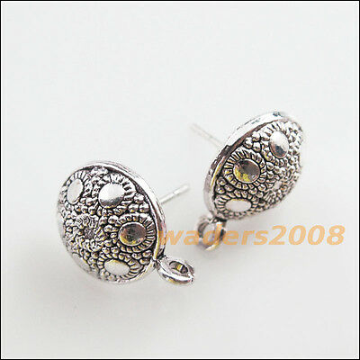 8 New Charms Tibetan Silver Tone Round Flower Wire Earrings Hooks 12.5mm