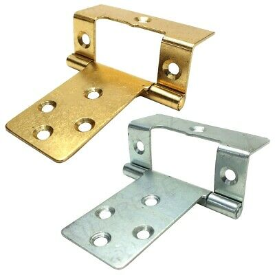 SET OF 2 LARGE CRANKED 50mm SILVER/BRASS FLUSH HINGES Wood Cupboard Door Hang
