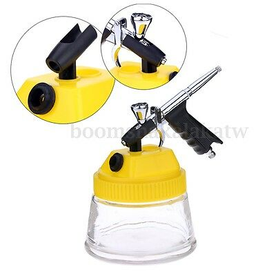 Airbrush Cleaning Pot Airbrush Stand Station Jar Bottle Glass Container & Lid