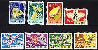 Romania 1963 Butterflies making natural silk complete set of stamps  MNH
