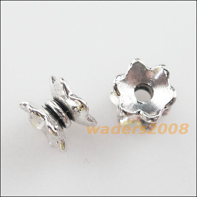 35Pcs Tibetan Silver Tone Flower Cone Horn Spacer End Beads Connectors 7.5x8.5mm