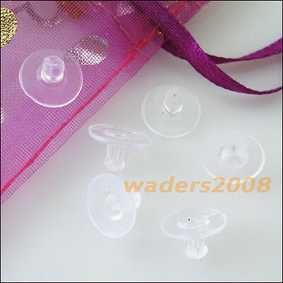 120 New Hypo Rubber Earring Back Stopper Finding Big Pads Transparent 6x10mm