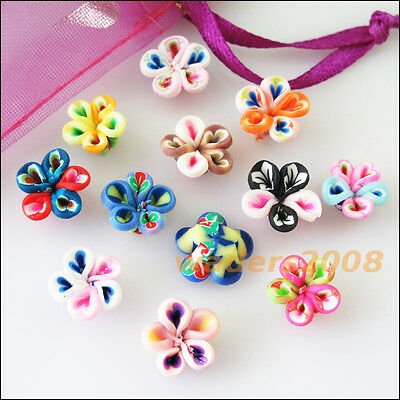 15 New Charms Handmade Polymer Fimo Clay Flower Spacer Beads Mixed 10mm