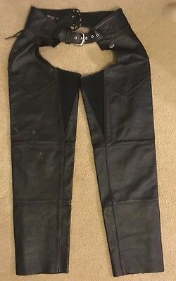 HARLEY DAVIDSON Black Leather CHAPS Women's Size L ~ Style 98480 ~ Made in USA