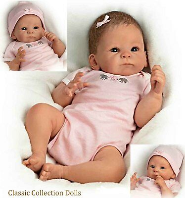 "Ashton Drake""LITTLE PEANUT"" LIFELIKE WEIGHTED NEWBORN BABY DOLL-NEW-ROOTED HAIR!"