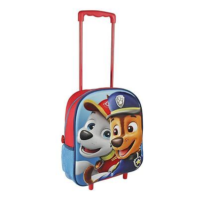 Children Paw Patrol 3D Effect Face Chase & Marshall Blue Trolley Bag Luggage