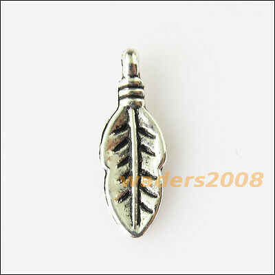 45 New Tiny Leaf Tibetan Silver Tone Charms Pendants 6x17mm