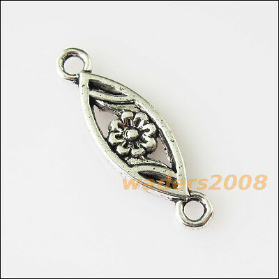 15 New Oval Flower Connectors Tibetan Silver Tone Charms Pendants 7.5x24mm