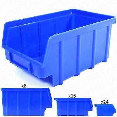 SMALL - LARGE STACKABLE PLASTIC PARTS BINS Deep Strong Storage Tray Box Kbins