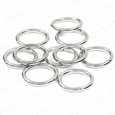 CHROME CURTAIN RINGS SMALL-LARGE Metal Loop Hanging Pole Rod Voile Net Silver