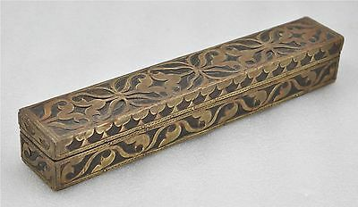 1850s Indian Antique Hand Crafted Brass Fitted Wooden Pencil Box