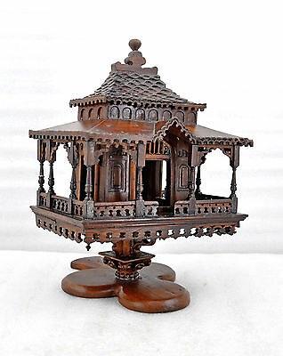 1850s North Indian Antique Hand Crafted Carved Wooden Kashmiri House Figure Rare