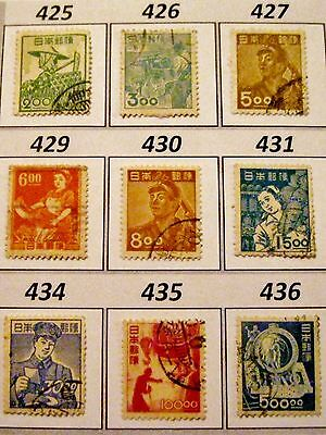 Japan Issues of 1948 Set of 9 Used Scott's 425 to 427 429 to 431 434 to 436 (s2)