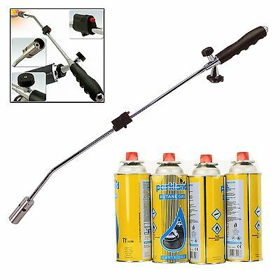 Weed Burner Killer Weeds Wand Blowtorch Garden Outdoor + 4 Butane Gas Canisters